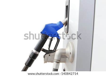isolated blue fuel dispenser at the gas station - stock photo