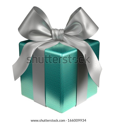 Isolated Blue Gift Box with Clipping Path
