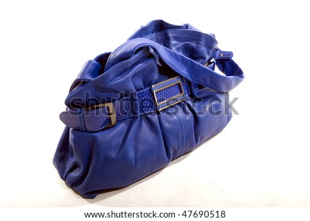Isolated blue leather bag