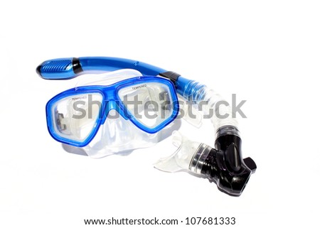 Isolated blue snorkel and mask used for snorkeling and scuba.