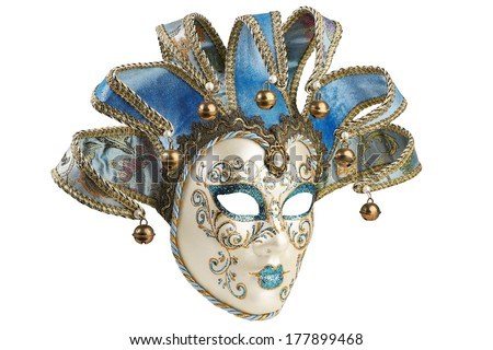 Isolated Blue Venetian mask on a white background - stock photo
