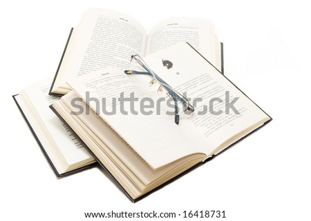 Isolated books with glases - stock photo