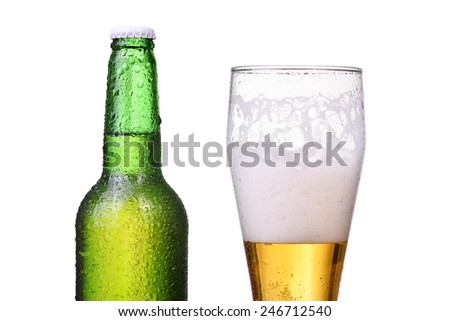 Isolated bottle and glass with light beer - stock photo