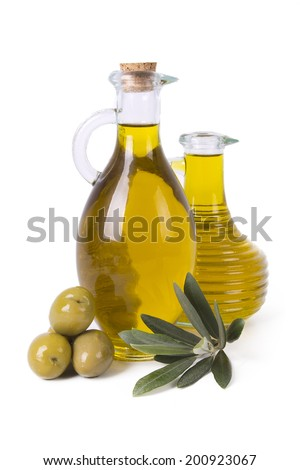 isolated bottles olive oil