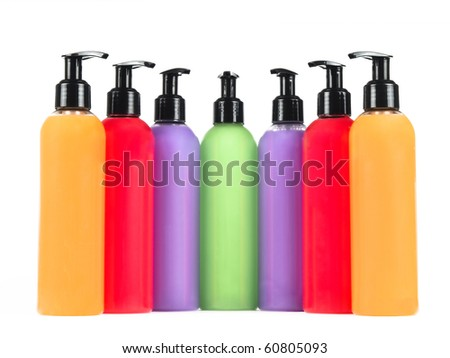 Isolated bottles with soap and gel on a white background