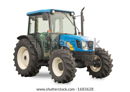 Isolated brand new medium sized tractor prepared for sale - stock photo