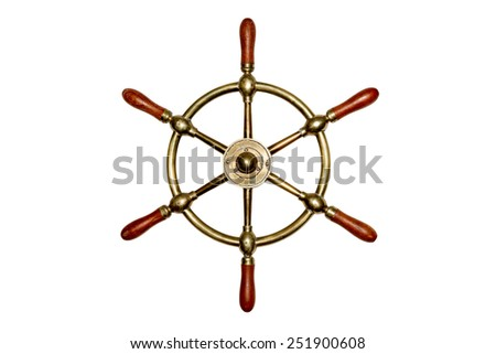 Isolated Brass Ship's Wheel - Unique and old brass ship's wheel isolated on white.  Some texture and distressing. - stock photo