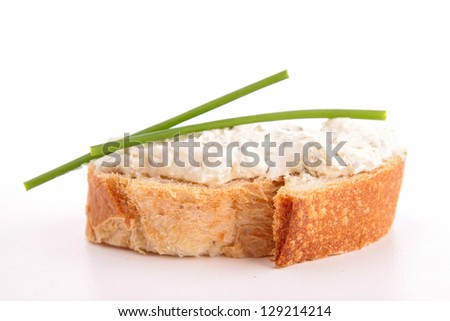 isolated bread with cheese and chives - stock photo
