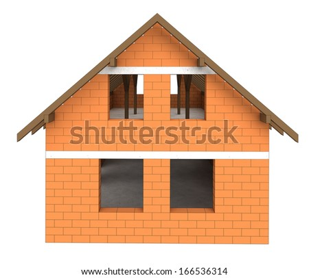 isolated bricked house facade construction illustration