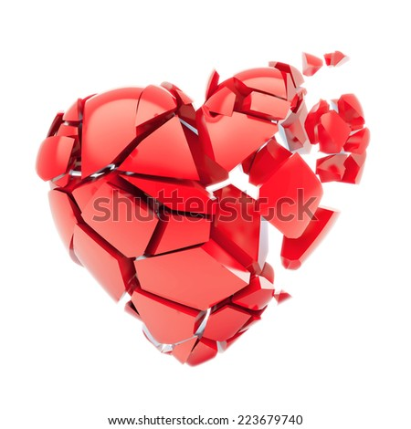 Isolated broken red heart - stock photo