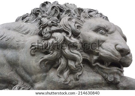 Isolated Bronze Lion Monument in Washington DC  - stock photo
