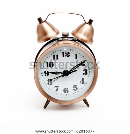 Isolated bronze vintage alarm clock without shadow