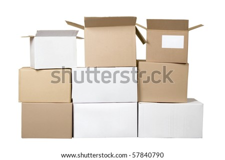Isolated brown and white different cardboard boxes arranged in stack - stock photo