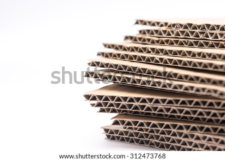 Isolated brown cardboard or recycle paper on white background  - stock photo