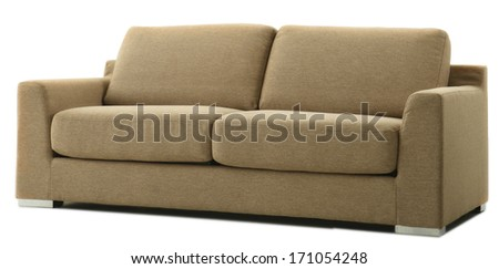 isolated brown couch  - stock photo