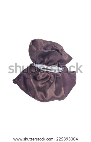 isolated brown gifts/money bag with tissue - stock photo