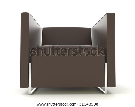 isolated brown leather chair on the white background - stock photo