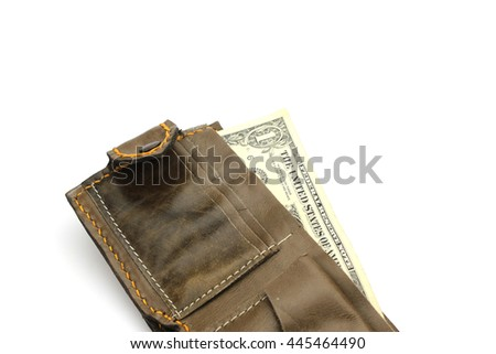 Isolated brown leather wallet with us money banknotes on white background  - stock photo
