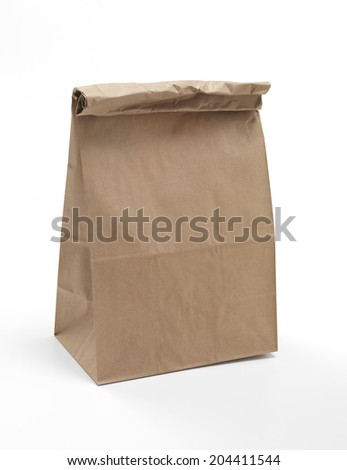 Isolated brown paper lunch bag - stock photo