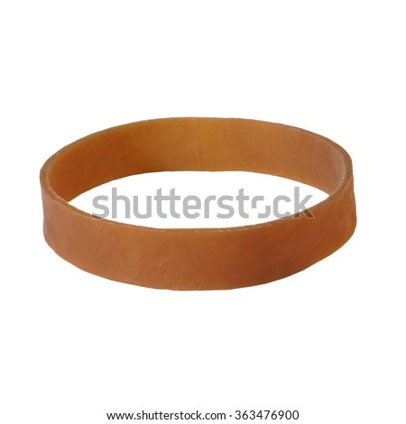 Isolated Brown Rubber Band on White Background - stock photo