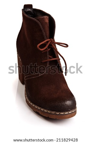 Isolated brown shoe - stock photo