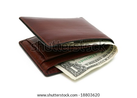 Isolated brown wallet on white background.