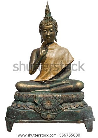 Isolated Buddha on white background, taken from Wat Arun Temple, Thailand - stock photo