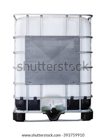 Isolated bulk plastic oil or liquid containers and metallic cage with clipping path - stock photo