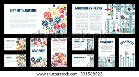 Isolated business cards flyers templates machine stock illustration isolated business cards and flyers templates with machine parts pipes machinery devices reheart Choice Image