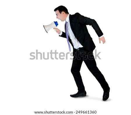 Isolated business man angry shouting - stock photo