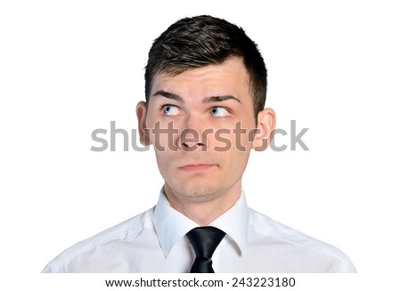 Isolated business man curious face - stock photo