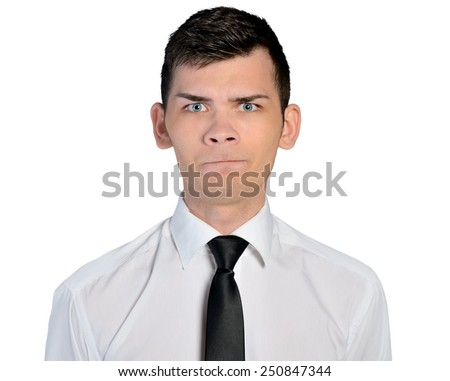 Isolated business man doubt face - stock photo