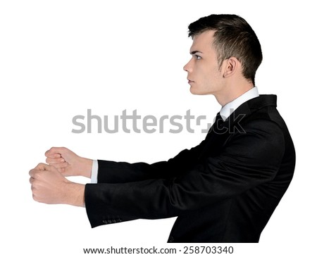 Isolated business man drive position - stock photo