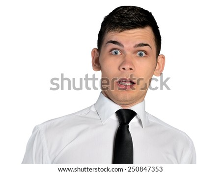 Isolated business man fear face