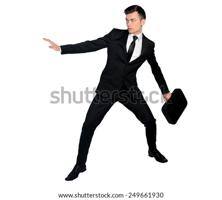 Isolated business man fear position - stock photo