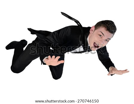 Isolated business man fly concept - stock photo