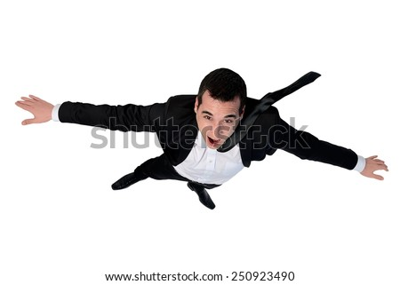 Isolated business man fly position - stock photo