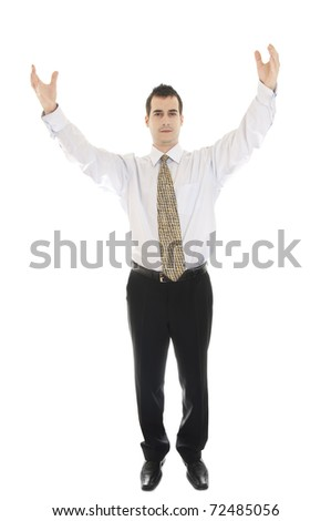 Isolated business man gesturing worship