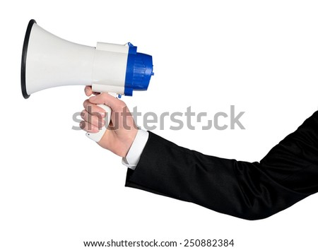 Isolated business man hand with loudspeaker - stock photo