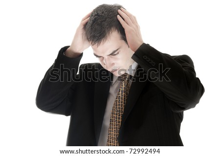 Isolated business man in depression - stock photo