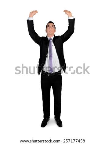 Isolated business man lift something - stock photo