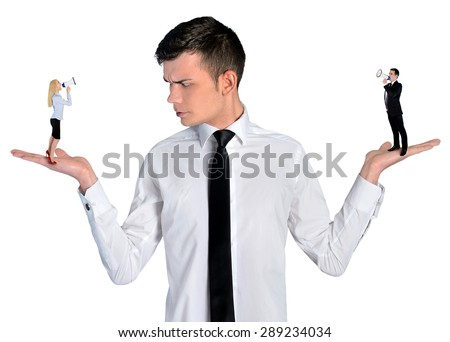 Isolated business man looking angry on little woman - stock photo