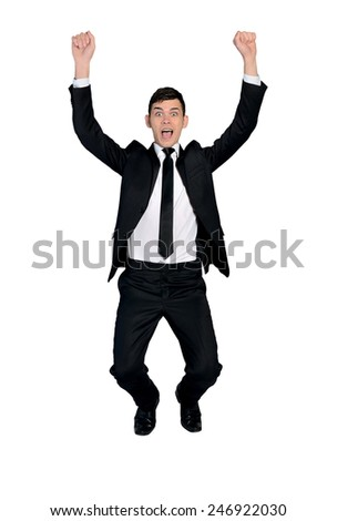 Isolated business man on imaginary rope - stock photo