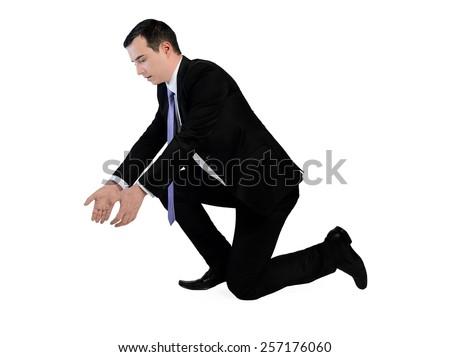 Isolated business man pick something - stock photo