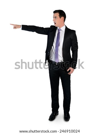 Isolated business man pointing angry - stock photo
