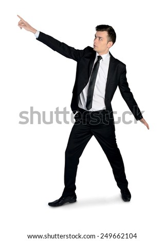 Isolated business man pointing corner - stock photo