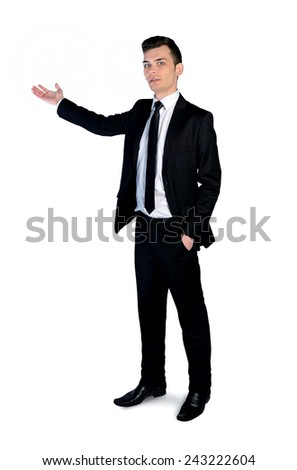 Isolated business man pointing something - stock photo