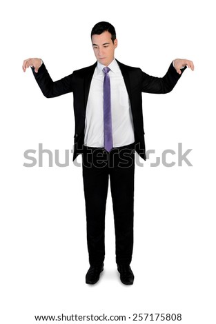 Isolated business man puppeteer - stock photo
