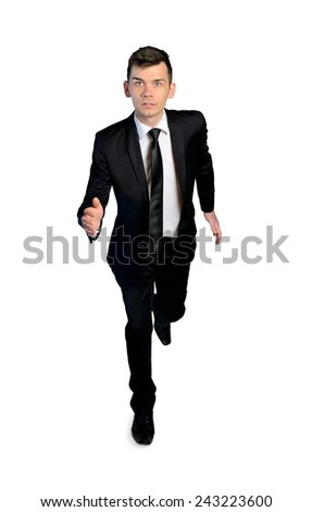 Isolated business man run to camera - stock photo