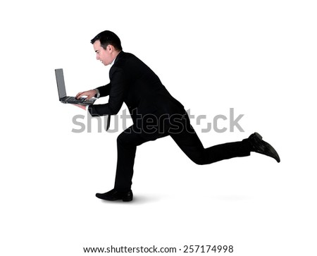 Isolated business man run with laptop - stock photo
